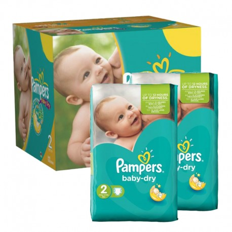 Pampers - 184 Couches Baby Dry taille 2 sur Couches Poupon
