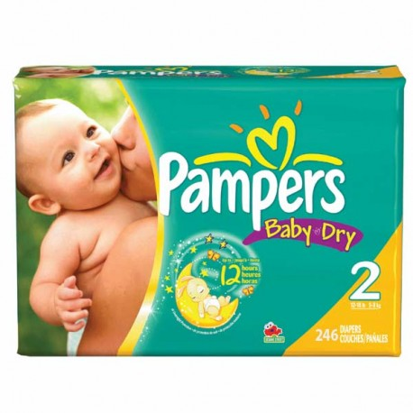Pampers - 230 Couches Baby Dry taille 2 sur Couches Poupon