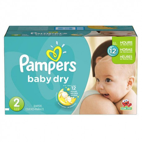 Pampers - 276 Couches Baby Dry taille 2 sur Couches Poupon