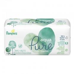 Pampers - Pack 48 Lingettes Bébés Aqua Pure sur Couches Poupon