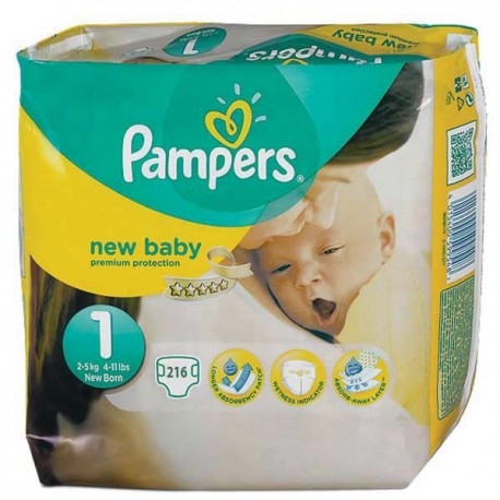 Pampers - Giga pack 216 Couches New Baby Premium Protection taille 1 sur Couches Poupon