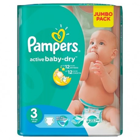 Pampers - Pack 68 Couches Active Baby Dry taille 3 sur Couches Poupon