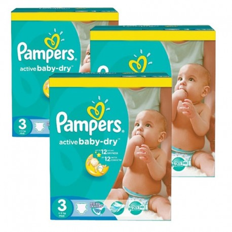 Pampers - Pack jumeaux 544 Couches Active Baby Dry taille 3 sur Couches Poupon