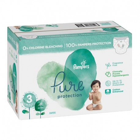 Pampers - Giga pack 220 Couches Pure Protection taille 3 sur Couches Poupon
