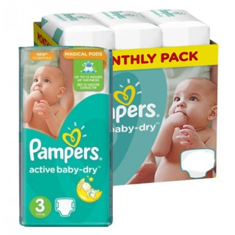Pampers - Pack jumeaux 612 Couches Active Baby Dry taille 3 sur Couches Poupon