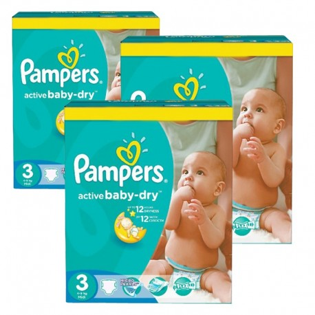 Pampers - Pack jumeaux 680 Couches Active Baby Dry taille 3 sur Couches Poupon