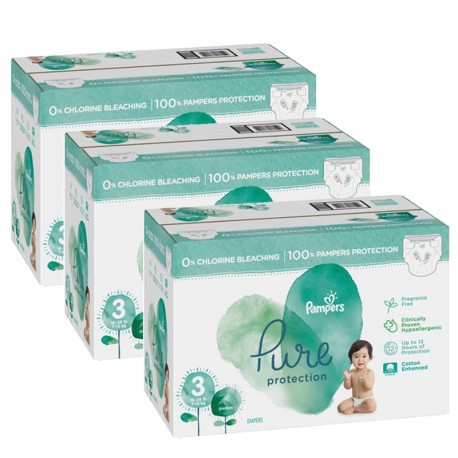 Pampers - Giga pack 264 Couches Pure Protection taille 3 sur Couches Poupon
