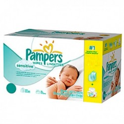 Pampers - Maxi mega pack 448 Lingettes Bébés New Baby Sensitive sur Couches Poupon
