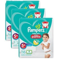 Pampers - Pack 68 Couches Baby Dry Pants taille 5+ sur Couches Poupon