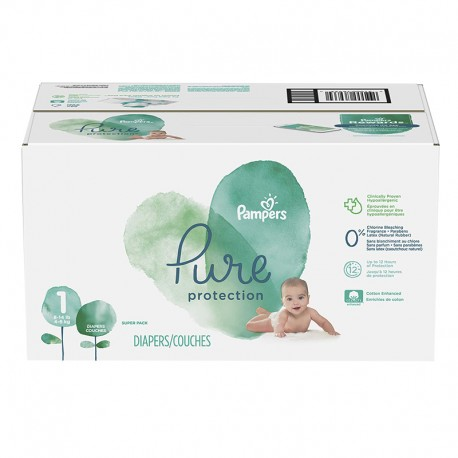 Pampers - Pack 70 Couches Pure Protection taille 1 sur Couches Poupon