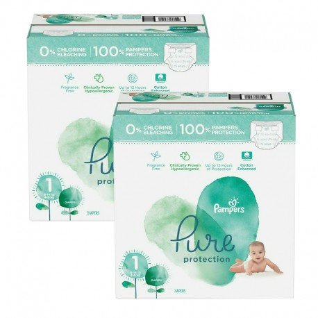Pampers - Mega pack 105 Couches Pure Protection taille 1 sur Couches Poupon