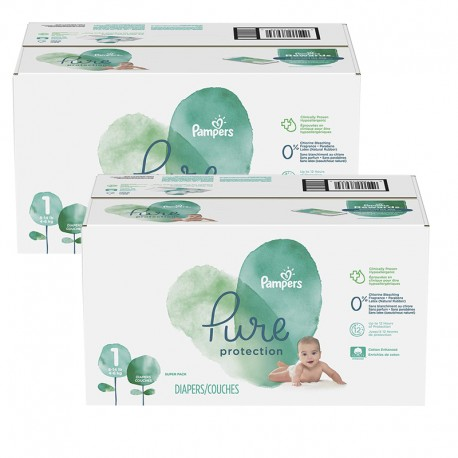 Mega pack 175 Couches Pampers Pure Protection taille 1 sur Couches Poupon