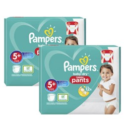 Pampers - Mega pack 102 Couches Baby Dry Pants taille 5+ sur Couches Poupon