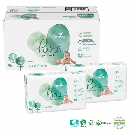 Pampers - Giga pack 210 Couches Pure Protection taille 1 sur Couches Poupon