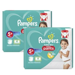 Pampers - Mega pack 136 Couches Baby Dry Pants taille 5+ sur Couches Poupon