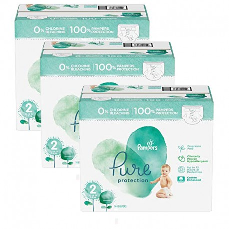 Pampers - Giga pack 216 Couches Pure Protection taille 2 sur Couches Poupon