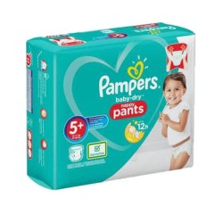 Pampers - Pack 72 Couches Baby Dry Pants taille 5+ sur Couches Poupon