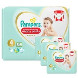 Pampers - Giga pack 285 Couches Premium Protection Pants taille 4 sur Couches Poupon