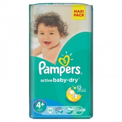 Pampers - 40 Couches Active Baby Dry taille 4+ sur Couches Poupon