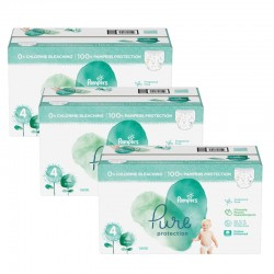 Pampers - Pack jumeaux 570 Couches Pure Protection taille 4 sur Couches Poupon