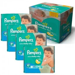 Pampers - Maxi mega pack 400 Couches Active Baby Dry taille 4+ sur Couches Poupon