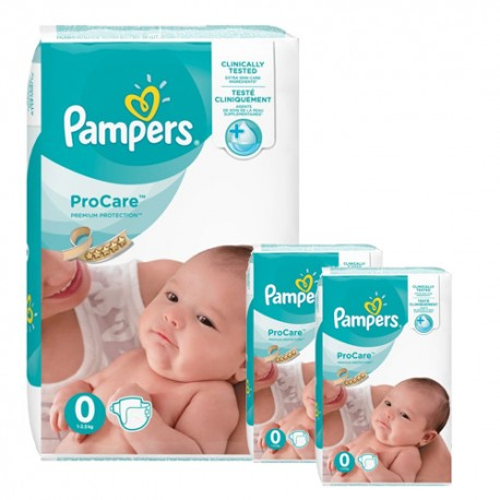 Pampers - Mega pack 152 Couches ProCare Premium protection taille 0 sur Couches Poupon