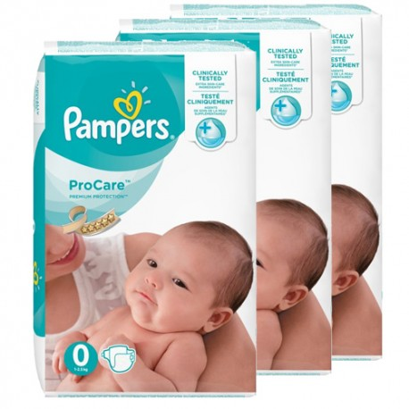 Pampers - Mega pack 190 Couches ProCare Premium protection taille 0 sur Couches Poupon