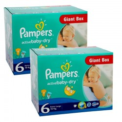Pampers - Giga pack 240 Couches Active Baby Dry taille 6 sur Couches Poupon