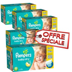 Pampers - Maxi mega pack 456 Couches Baby Dry taille 6 sur Couches Poupon