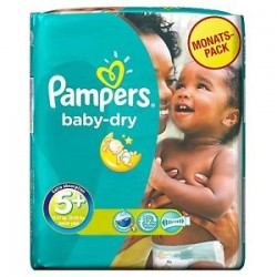 Pampers - Pack 68 Couches Baby Dry taille 5+ sur Couches Poupon