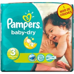 Pack 38 Couches Pampers Baby Dry sur Couches Poupon