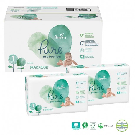 Pampers - Mega pack 100 Couches Pure Protection taille 1 sur Couches Poupon