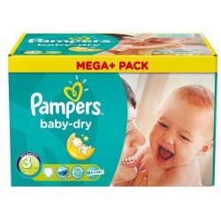 Pampers - Mega pack 114 Couches Baby Dry taille 3 sur Couches Poupon