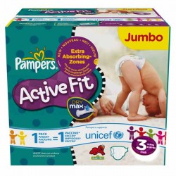 Pampers - Maxi mega pack 476 Couches Active Fit taille 3 sur Couches Poupon