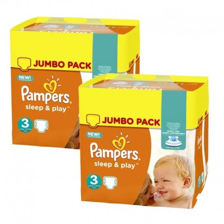 Pampers - Pack jumeaux 624 Couches Sleep & Play taille 3 sur Couches Poupon