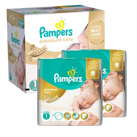 Pampers - Maxi mega pack 484 Couches New Baby Premium Care taille 1 sur Couches Poupon